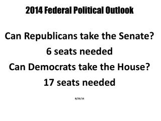 2014 Federal Political Outlook