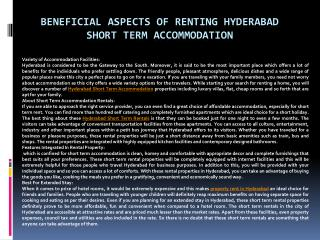 Beneficial Aspects of Renting Hyderabad Short Term Accommoda