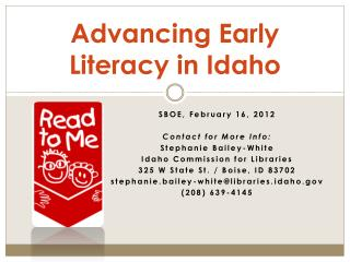 Advancing Early Literacy  in Idaho