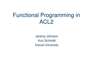 Functional Programming in ACL2