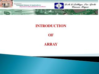 INTRODUCTION  OF ARRAY