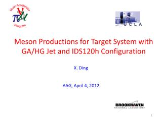 Meson Productions for Target System with GA/HG Jet and IDS120h Configuration