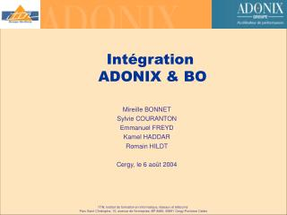 Int�gration  ADONIX & BO