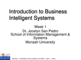 Introduction to Business Intelligent Systems
