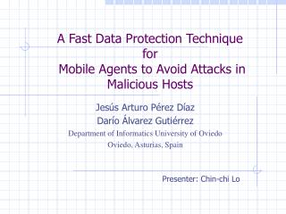 A Fast Data Protection Technique  for  Mobile Agents to Avoid Attacks in Malicious Hosts