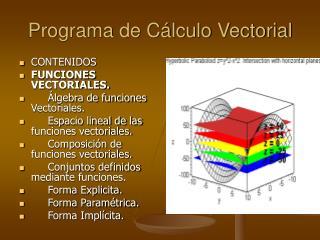 Programa de C lculo Vectorial