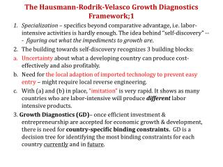 The Hausmann-Rodrik-Velasco Growth Diagnostics Framework;1