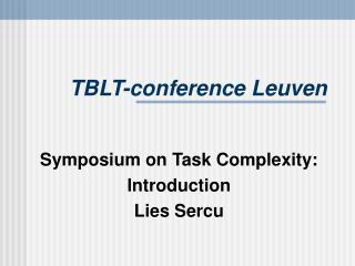 TBLT-conference Leuven