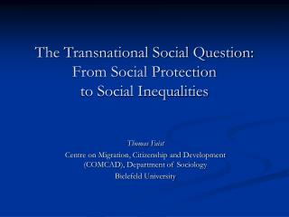 The Transnational Social Question: From Social Protection  to Social Inequalities