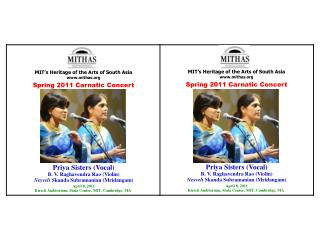 MIT�s Heritage of the Arts of South Asia mithas Spring 2011 Carnatic Concert