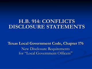 H.B. 914: CONFLICTS DISCLOSURE STATEMENTS