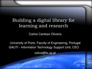 Building a digital library for learning and research