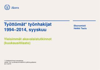 Työttömät* työnhakijat 1994–2014, syyskuu