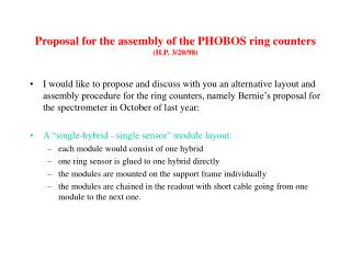 Proposal for the assembly of the PHOBOS ring counters (H.P. 3/20/98)