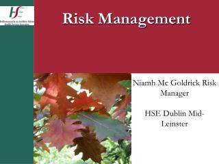 Niamh Mc Goldrick Risk Manager  HSE Dublin Mid-Leinster