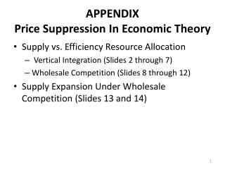 APPENDIX Price Suppression In Economic Theory