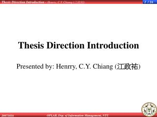 Thesis Direction Introduction