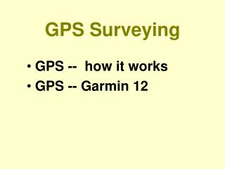 GPS Surveying