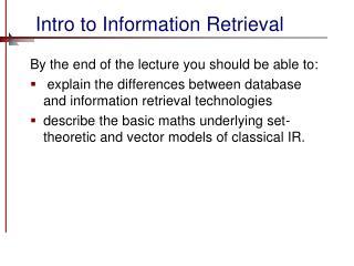 Intro to Information Retrieval