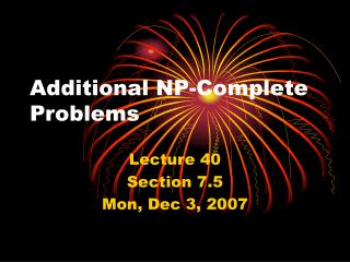 Additional NP-Complete Problems