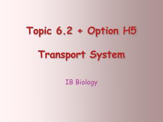 Topic 6.2 + Option H5  Transport System