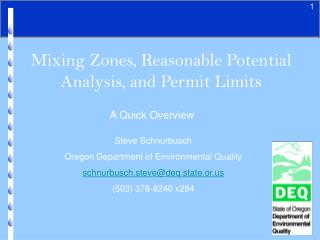 Mixing Zones, Reasonable Potential Analysis, and Permit Limits