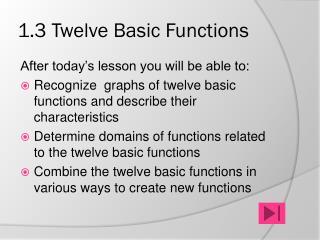 1.3 Twelve Basic Functions