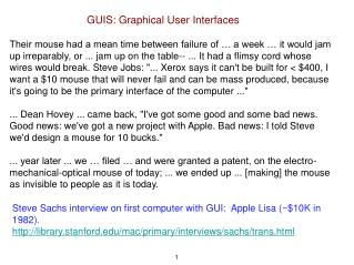 GUIS: Graphical User Interfaces