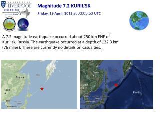Magnitude 7.2 KURIL ' SK