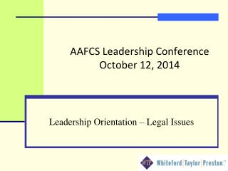 AAFCS Leadership Conference October 12, 2014