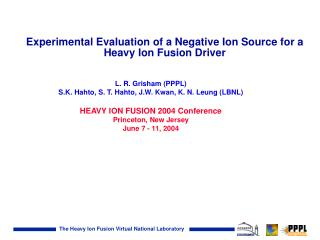 Experimental Evaluation of a Negative Ion Source for a Heavy Ion Fusion Driver