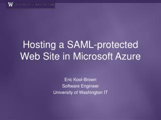 Hosting a SAML-protected Web Site in Microsoft Azure