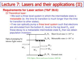Lecture 7: Lasers and their applications (II)