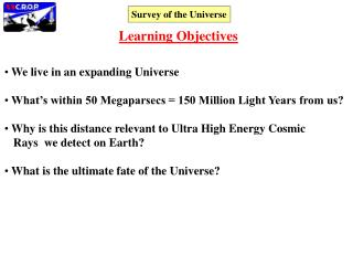 We live in an expanding Universe  What's within 50 Megaparsecs = 150 Million Light Years from us?