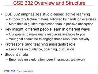 CSE 332 Overview and Structure