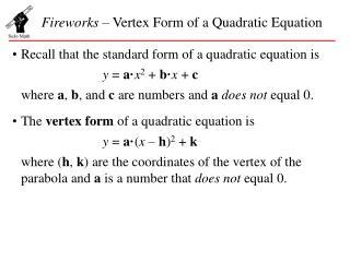 Fireworks  – Vertex Form of a Quadratic Equation