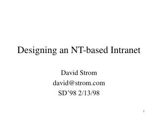 Designing an NT-based Intranet