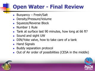 Open Water - Final Review