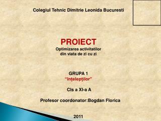 Colegiul Tehnic Dimitrie Leonida Bucuresti PROIECT  Optimizarea activitatilor