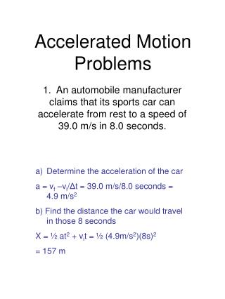 Accelerated Motion Problems