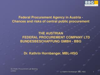 Federal Procurement Agency in Austria - Chances and risks of central public procurement