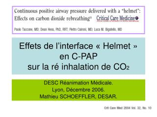 Effets de l interface   Helmet    en C-PAP  sur la r  inhalation de CO2