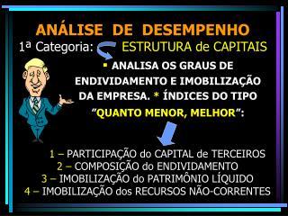 ANÁLISE  DE  DESEMPENHO                         1ª Categoria:        ESTRUTURA de CAPITAIS