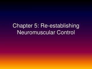 Chapter 5: Re-establishing Neuromuscular Control