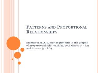 Patterns and Proportional Relationships