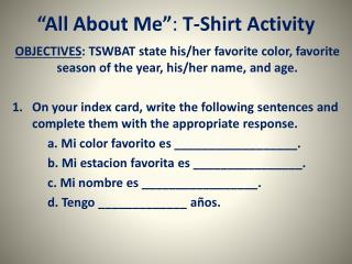 """ All About  Me"" :  T-Shirt Activity"