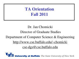 TA Orientation Fall  2011