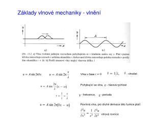 Základy vlnové mechaniky - vlnění