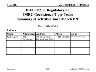IEEE 802.11 Regulatory SC DSRC Coexistence Tiger Team Summary of activities since March F2F