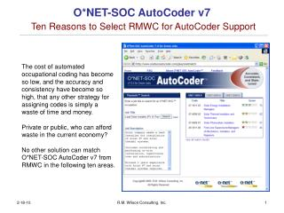 O*NET-SOC AutoCoder v7 Ten Reasons to Select RMWC for AutoCoder Support
